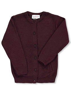 Big Girls' Crewneck Cardigan Sweater in burgundy, gray, green and navy - $37.00