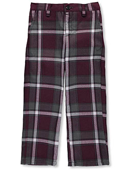 Girls' Flat Front Pants in navy and plaid #91