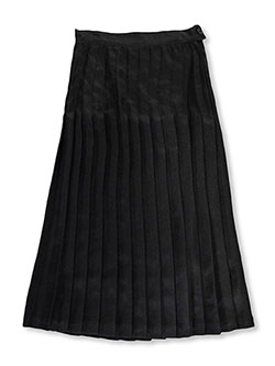 Big Girls' Long Pleated Skirt in black and navy