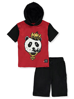 Boys' Panda Hoodie 2-Piece Shorts Set by Blac Label in Red