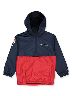 Boys' Logo Sleeve Hooded Windbreaker by Champion in Navy