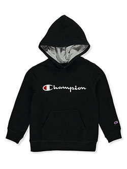 Boys' Embroidered Logo Hoodie by Champion in black, orange and oxford, Sizes 8-20