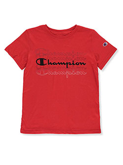 Boys' Echo Logo Graphic T-Shirt by Champion in scarlet and white