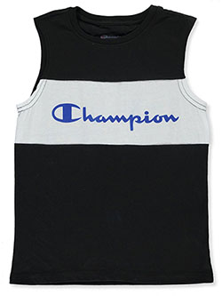 Boys' Logo Stripe Sleeveless T-Shirt by Champion in black and oxford, Sizes 8-20