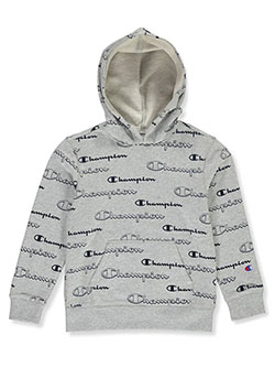 Boys' Allover Logo Print Hoodie by Champion in oxford and white, Boys Fashion