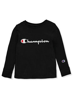 Boys' Classic Logo L/S T-Shirt by Champion in Black