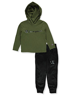 Boys' Camo Logo 2-Piece Sweatsuit Outfit by Champion in Multi