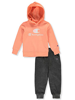 Girls' Text Logo 2-Piece Sweatsuit Outfit by Champion in peach and white