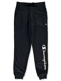 Girls' Terry Joggers by Champion in black, lndice, oxford and pink