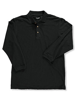 Men's L/S Pique Polo by Ultra Club in Black