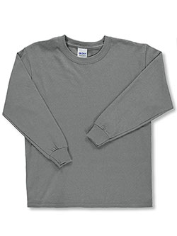 Unisex Basic L/S T-Shirt by Gildan in Charcoal gray