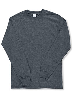 Adult Unisex Basic L/S T-Shirt by Gildan in Charcoal gray - $14.00