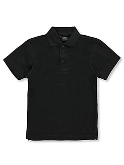 Big Boys' Poly-Pique Polo by Ultra Club in black and red