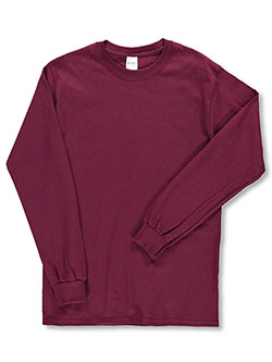 Adult Unisex Basic L/S T-Shirt by Gildan in Burgundy - $9.99