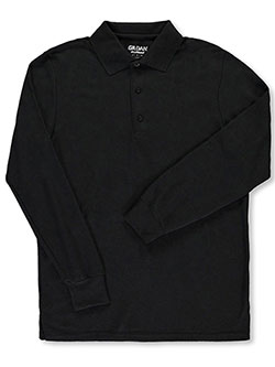 Men's L/S Cotton Pique Polo by Gildan in Black