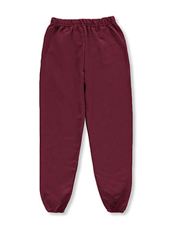 Boys' Fleece Joggers by Jerzees in burgundy and green