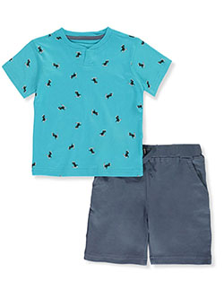Dinosaur 2-Piece Shorts Set Outfit by Beverly Hills Polo Club in Blue/multi, Infants