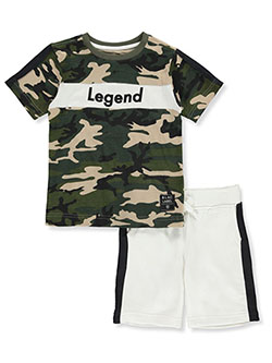 Camo Legend 2-Piece Shorts Set Outfit by Blac Label in Khaki