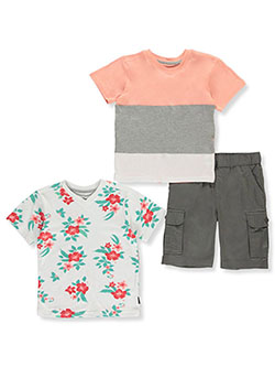 Flower 3-Piece Shorts Set Outfit by Beverly Hills Polo Club in Coral