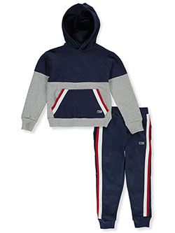Stripe Trim 2-Piece Sweatsuit Outfit by Beverly Hills Polo Club in Gray