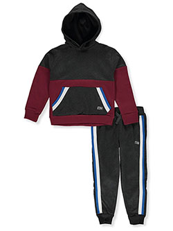 Stripe Trim 2-Piece Sweatsuit Outfit by Beverly Hills Polo Club in Wine