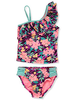 Ruffle Tropical 2-Piece Tankini Swimsuit by Breaking Waves in Multi