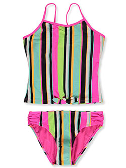 Stripe Tie 2-Piece Tankini Swimsuit by Breaking Waves in Multi