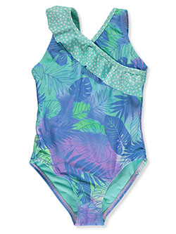 Tropical Fronds 1-Piece Swimsuit by Breaking Waves in Multi