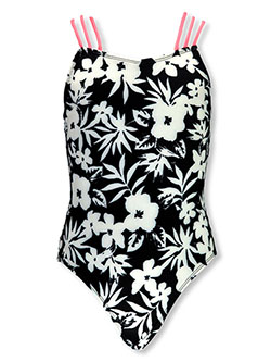 Girls' Floral 1-Piece Swimsuit by Breaking Waves in Black/white