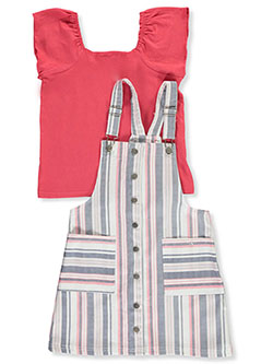 Stripe 2-Piece Pinafore Jumper Set Outfit by Sunset Sky in Dark pink