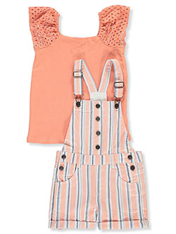 Eyelet Sleeve 2-Piece Shortalls Set Outfit by Sunset Sky in Coral
