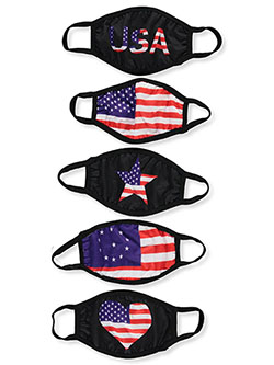 5-Pack Fashionable 100% Cotton Face Masks with Adjustable Ear Loops- Many Prints by Klean 'N Safe in americana print, assorted colors, white and more, Accessories