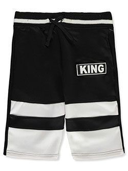 "Boys' Color Block ""King"" Shorts by GS-115 in black, heather gray and red"
