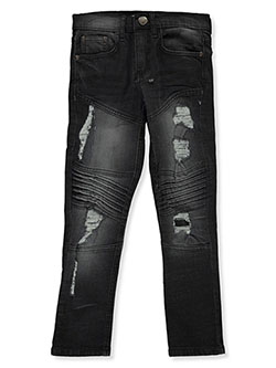 Boys' Slim-Fit Moto Jeans by GS-115 in Black, Boys Fashion