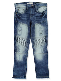 Boys' Slim-Fit Moto Jeans by GS-115 in Medium blue, Boys Fashion