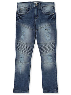 Boys' Slim-Fit Moto Jeans by GS-115 in Silver, Boys Fashion