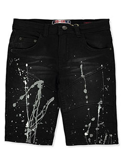 Paint Splatter Stretch Denim Moto Shorts by GS-115 in black and white, Boys Fashion