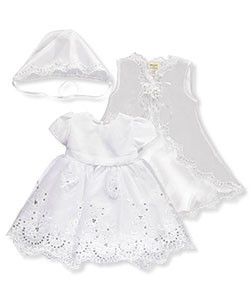 Baby Girls' 3-Piece Christening Set by Ceci Kid in White, Infants
