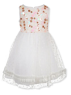Girls' Sequin & Heart Party Dress by Dorissa in White