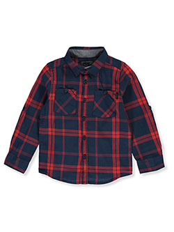 Boys' Plaid Shirt by DKNY in Red, Boys Fashion