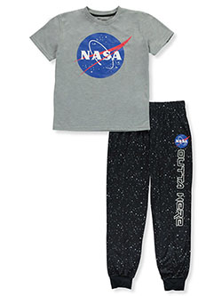 Boys' NASA 2-Piece Pajamas by Sleep On It in Gray, Sizes 4-7