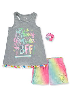Just Having Fun 2-Piece Pajamas with Mini Scrunchie by Sleep On It in Gray multi, Sizes 7-16