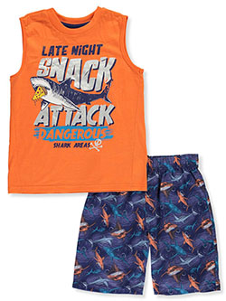 Boys' Just Jaw-some 2-Piece Pajamas by Sleep On It in orange/multi and teal/multi, Sizes 8-20