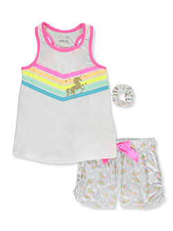 Rainbow Dreamer Unicorn 2-Piece Pajama Set with Matching Scrunchie by Sleep On It in White/multi, Sizes 7-16