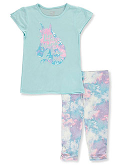 Dream Big 2-Piece Pajama Set by Sleep On It in aqua/multi and purple/multi, Sizes 7-16
