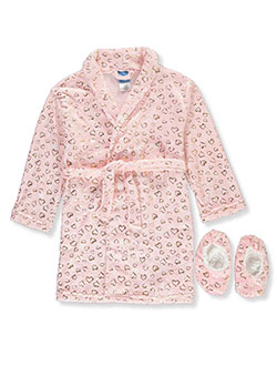 Heart Plush Bathrobe & Slippers Set by Sleep On It in Multi