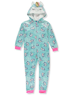 Unicorn Microfleece Hooded 1-Piece Pajama Suit by Sleep On It in Multi