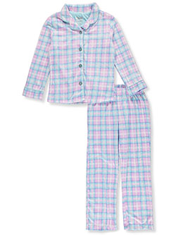 Girls' Plaid Button 2-Piece Pajamas by Sleep On It in Multi, Sizes 7-16