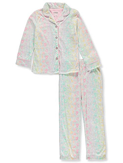 Girls' Heart Button 2-Piece Pajamas by Sleep On It in Multi, Sizes 7-16