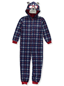 Dog Microfleece Hooded 1-Piece Pajama Suit by Sleep On It in Multi